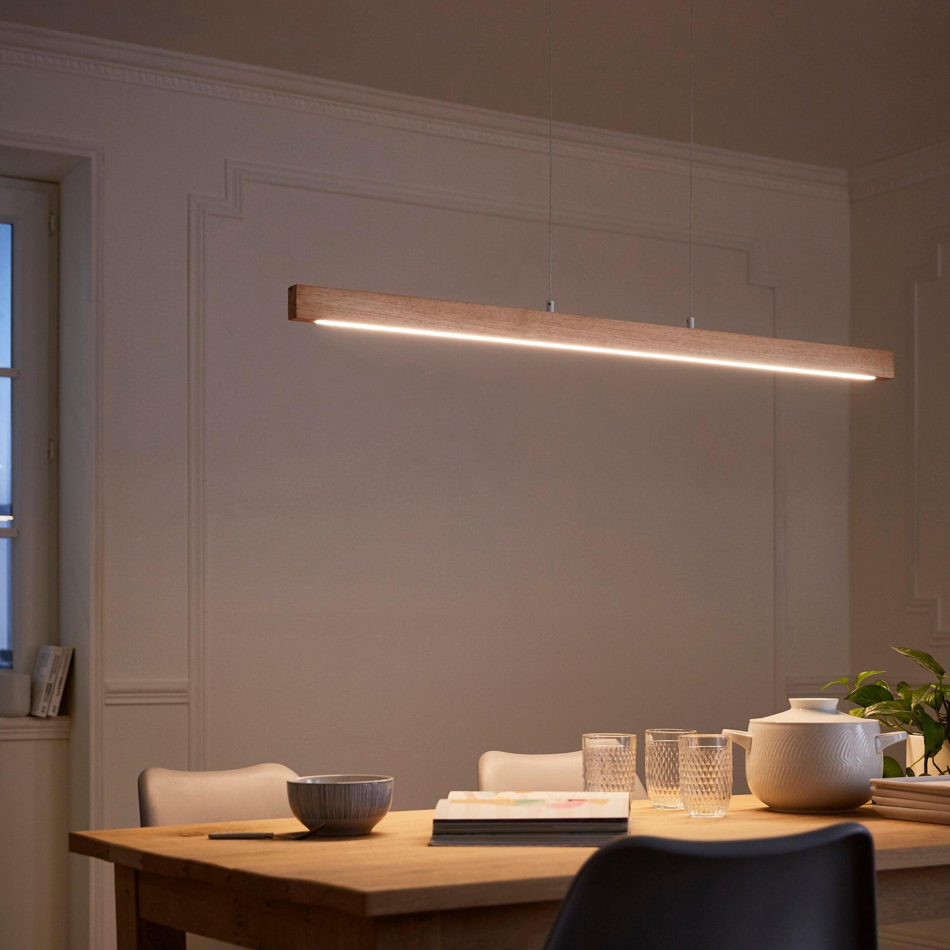 Lampadario Scandinavo Namu LED integrato legno, in legno, L. 118 cm, INSPIRE - 4