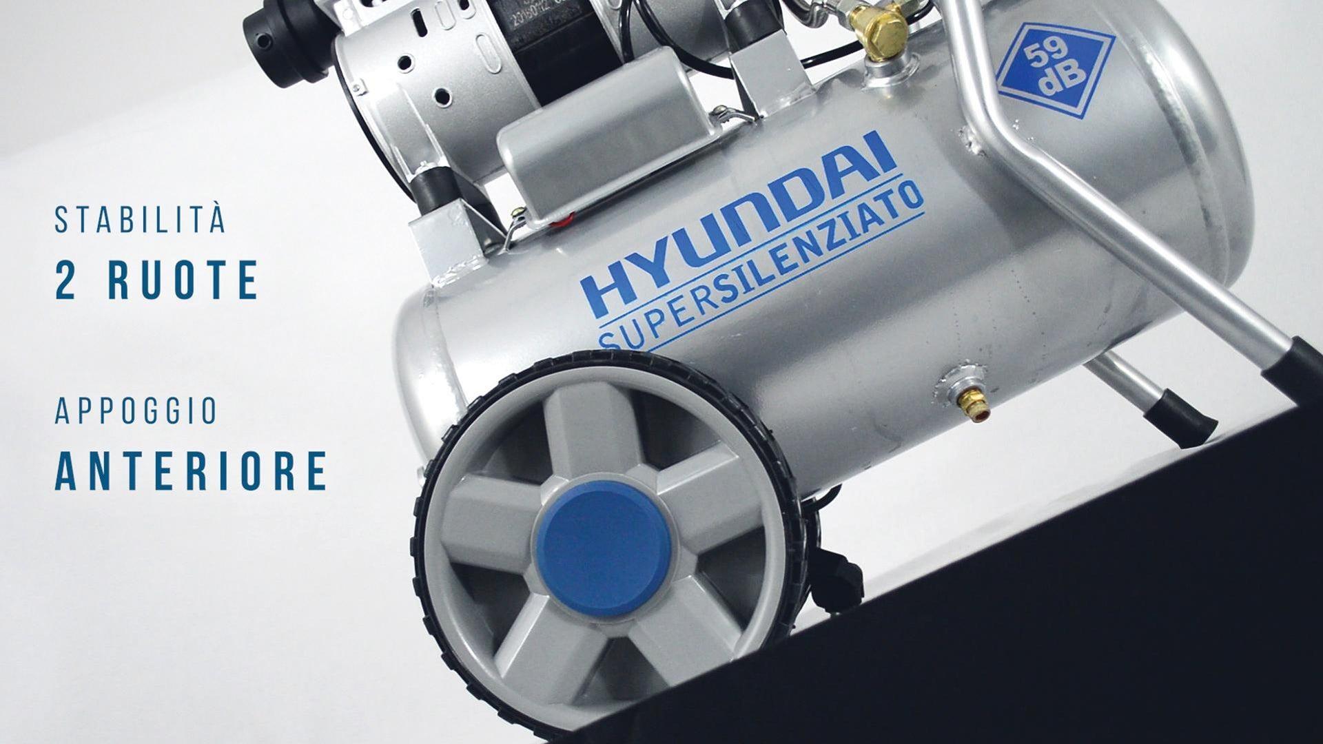 Compressore silenziato HYUNDAI Supersilent, 1 hp, 8 bar, 24 L - 2