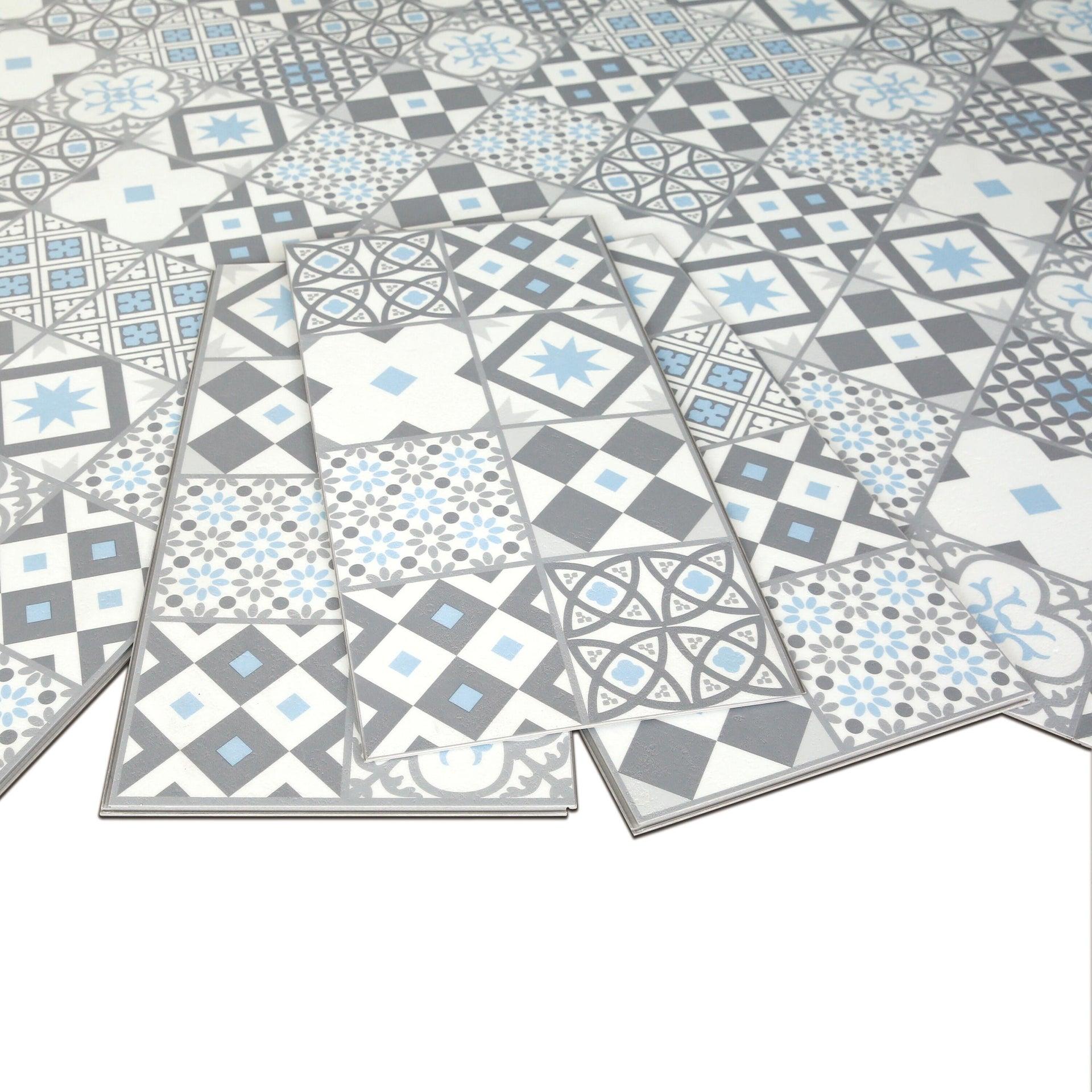 Pavimento PVC flottante clic+ Gatsby Blu Sp 4.2 mm multicolore - 10