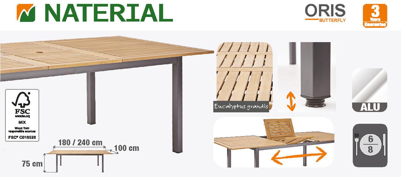 Tavolo da giardino allungabile rettangolare Oris NATERIAL con piano in legno L 180/240 x P 98.9 cm - 4