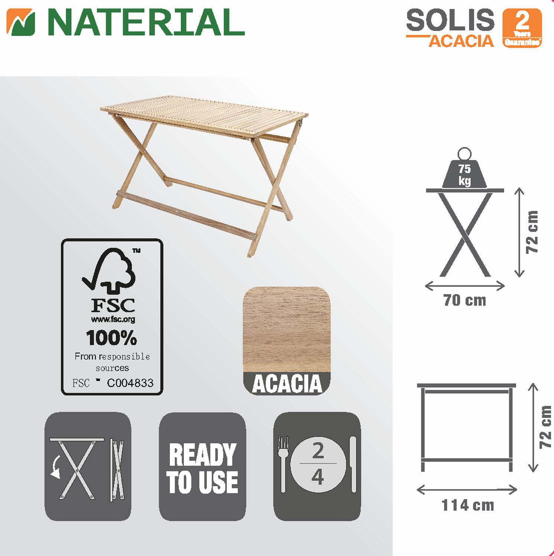 Tavolo da giardino rettangolare Solis NATERIAL con piano in legno L 70 x P 114 cm - 14