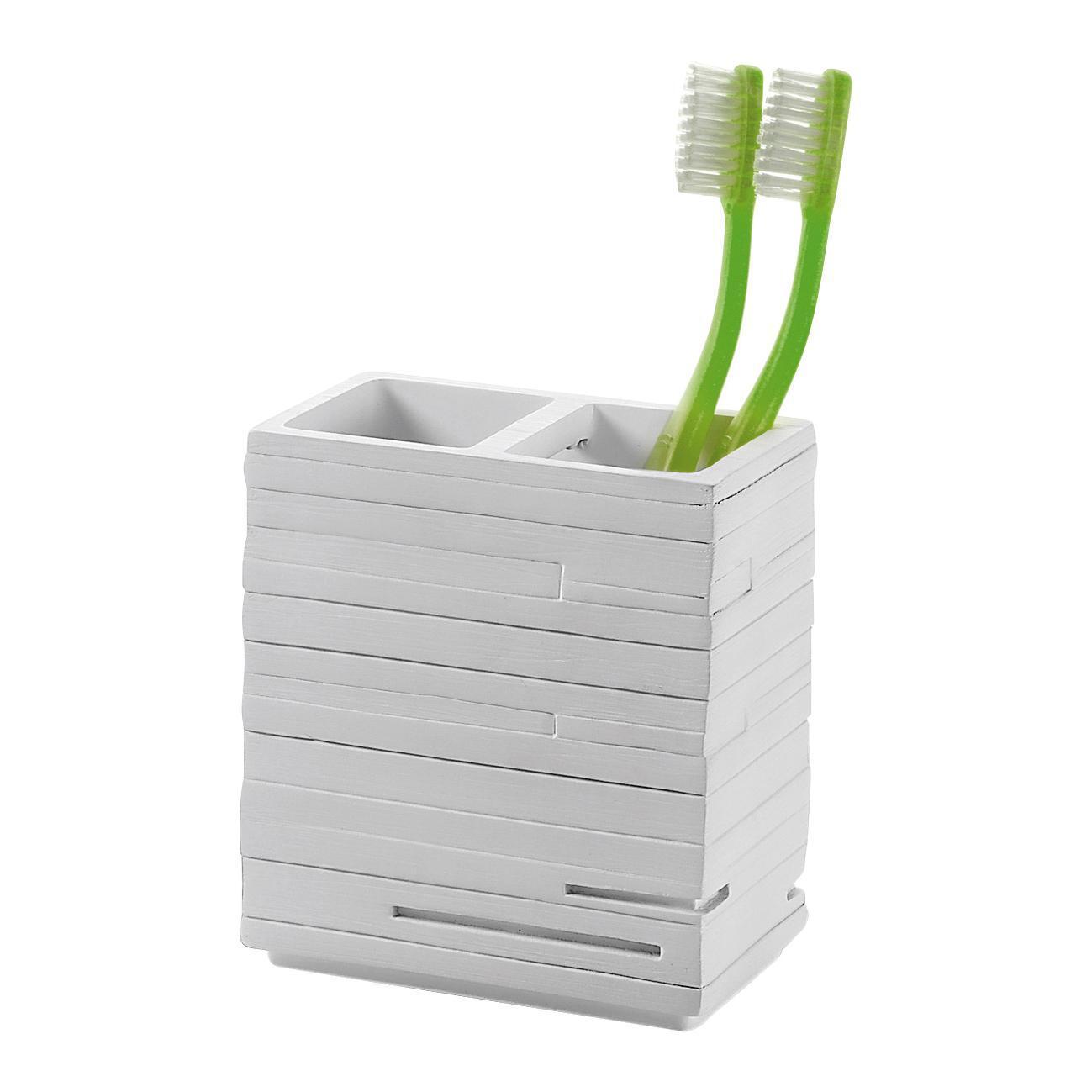 Bicchiere porta spazzolini Quadrotto in resina bianco - 6