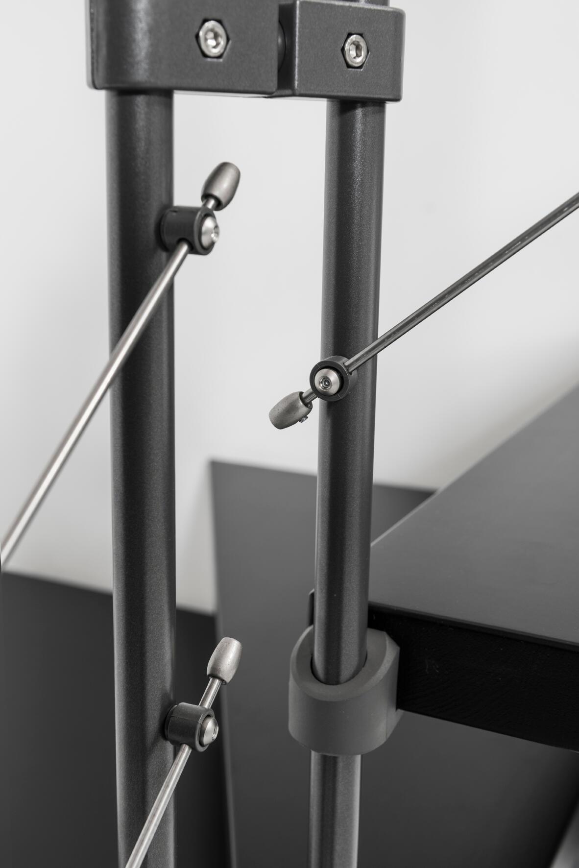 Scala a rampa 1/4 di giro Mas FONTANOT L 85 cm, gradino grigio antracite scuro, struttura antracite - 2