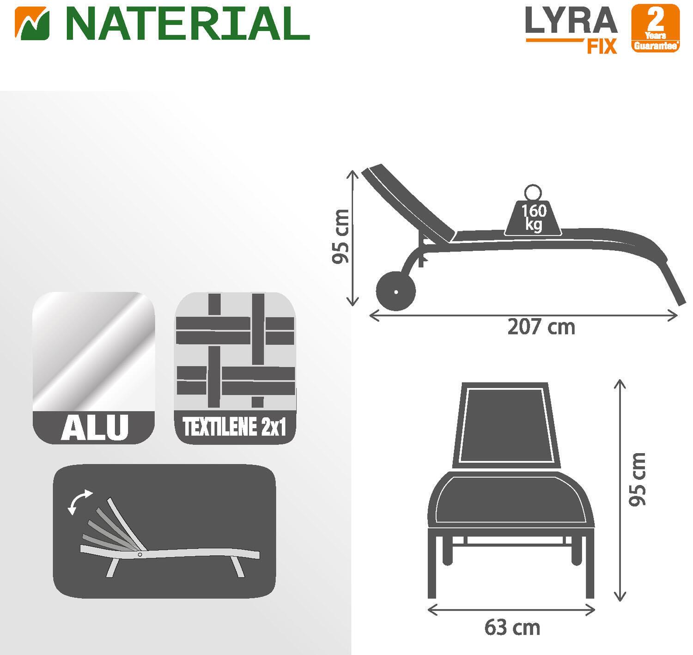 Lettino senza cuscino impilabile NATERIAL Lyra in alluminio grigio scuro - 10